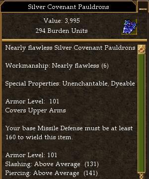 Covenant Melee 200 Missile 160 Magic 145 Minimum AL