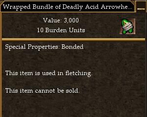Wrapped Bundle of Deadly Acid Arrowheads
