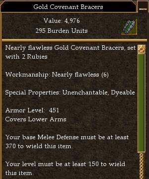 Covenant Melee 370 Missile 305 Magic 280 (tier 7) Minimum AL