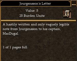 Jourgensson's Letter