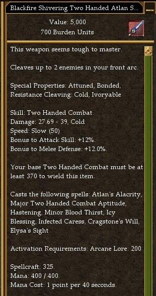 Blackfire Shivering Atlan Two Handed Sword