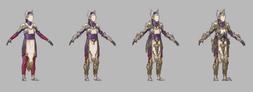 Cleric tier 1-4 armor set concept - pyrian elf