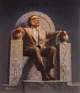 Isaac Asimov en trono