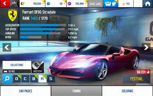 A8 SF90 Stradale stats (S MPH v4.9)