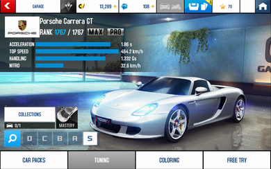 A8 Carrera GT stats (MP KMH)