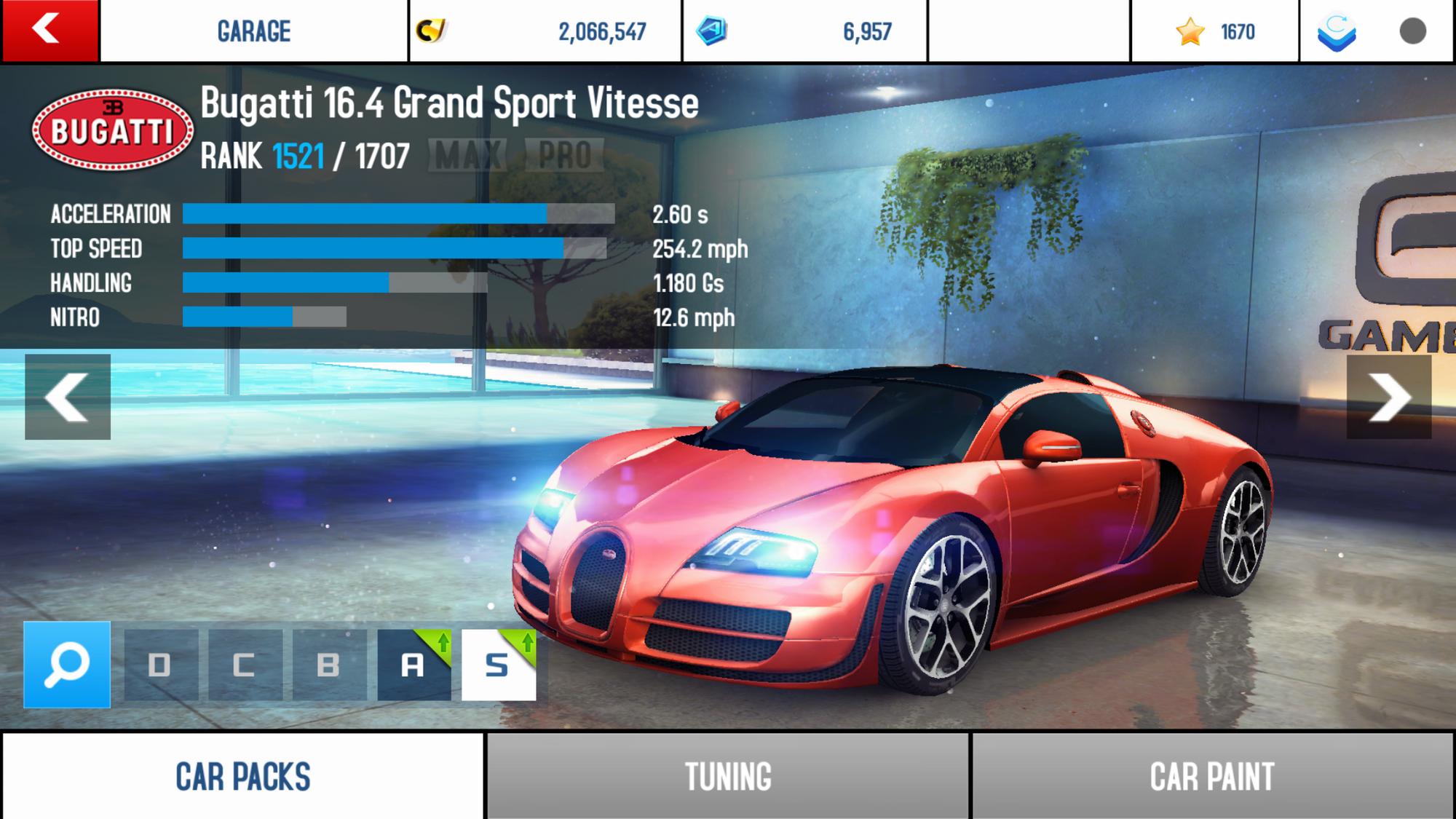 bugatti veyron 16.4 grand sport vitesseperformance stats | asphalt