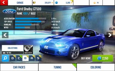 A8 GT500 stats (S KMH)