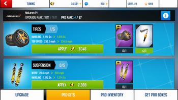 Pro Kit Upgrade screen