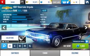 A8 1967 Impala stats (S MPH v4.3)