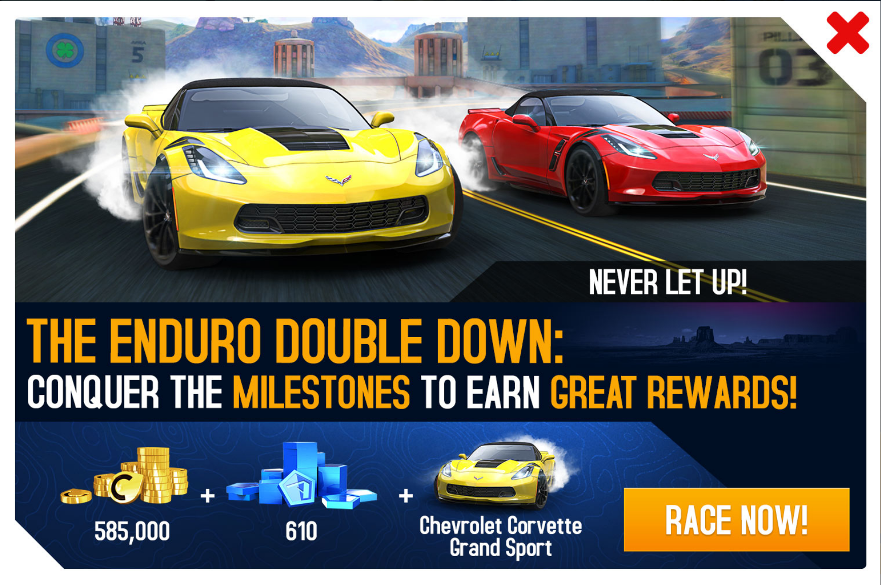 The Chevrolet Corvette Grand Sport Is The Eighth Enduro Double  Down Unlockable Car And Was Released As Part Of The Car Blueprints Update  In Asphalt 8: ...