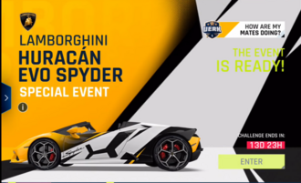 Lamborghini Huracan EVO Spyder Event Screen