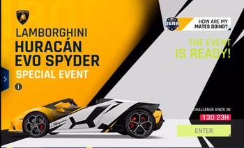 Lamborghini Huracan EVO Spyder Event Screen