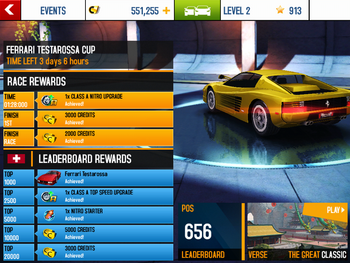Event Rewards National Leaderboard Ferrari Testarossa Cup