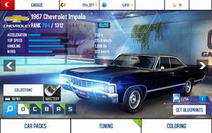 A8 1967 Impala stats (S KMH)