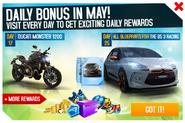 May 2018 Daily Bonus Promo