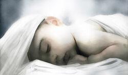 聖骸布に包まれるペロットの息子ジョヴァンニ