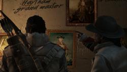 コナーとアキレス肖像画の前