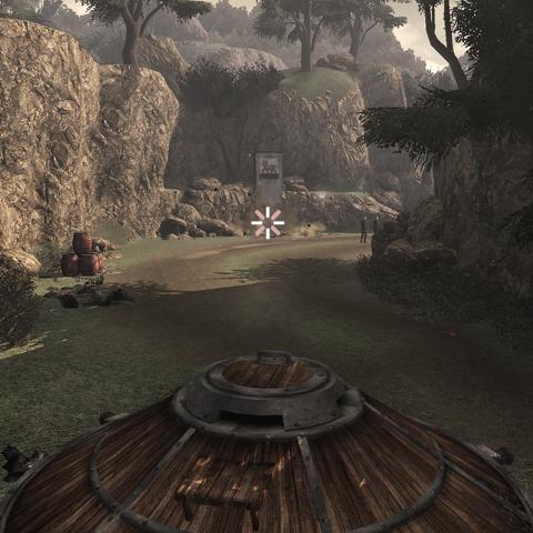 Ezio et les mercenaires pilotant le char sur le <b>mont Circé</b>