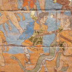 赫卡忒被描绘在公元前5世纪希腊的一幅壁画中,她的左边是<a href=