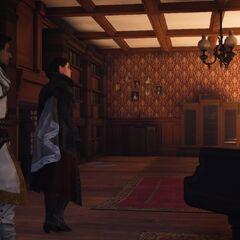 Evie et Henry entrant dans la salle de jeu