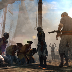 Edward Kenway with a captured crew