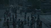Sokrates talking to Kassandra among the mob