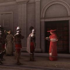 红衣主教与他的手下交谈
