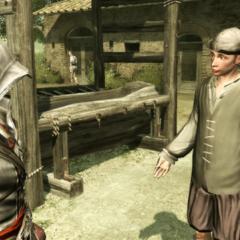 Ezio portant la deuxième lettre à son destinataire