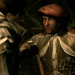 Leonardo accueillant Ezio dans son atelier