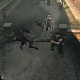 Ezio vecht met de wachters