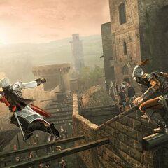 Ezio在城中躲避<a class=