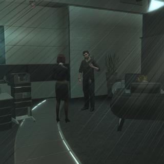 梅兰妮与奥利佛在她的办公室对谈