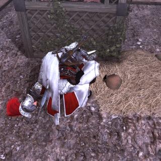 Ezio fouillant le corps de Galvano