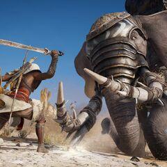 Bayek face à un éléphant de guerre