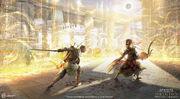 ACO Bayek Nefertiti Fight Concept Art - Erin Abeo