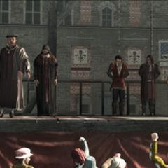 <b>Uberto</b> condamnant Giovanni et ses fils lors d'un procès injuste