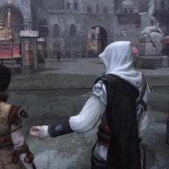 Ezio conseillant à Cristina de se cacher