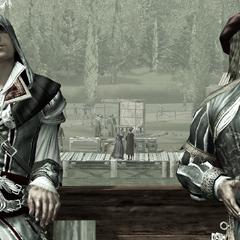 Ezio et Leonardo faisant voile vers Venise