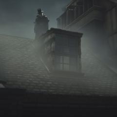 杰克隐约出现在伦敦的屋顶上