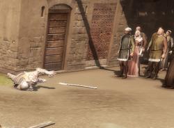 Mieszkańcy przyglądają się agonii zatrutego strażnika by DarknessEyes23