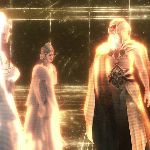 Minerva (midden) samen  met Juno en Jupiter