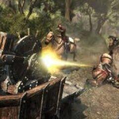 Ezio se servant de la mitrailleuse