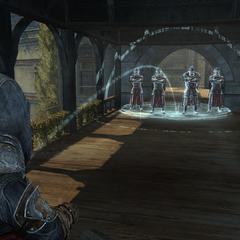 Ezio aiming a bomb at a group of guards