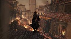 Shay bij een verwoest Lisabon