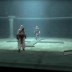 Altaïr affrontant <b>Bouchard</b> dans l'Archive