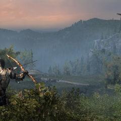 康纳对准一头鹿,弯弓搭箭