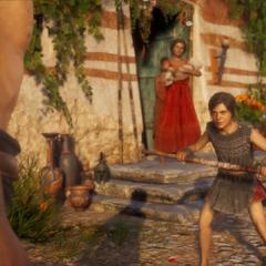 小卡珊德拉接受训练时,密里涅站在她身后