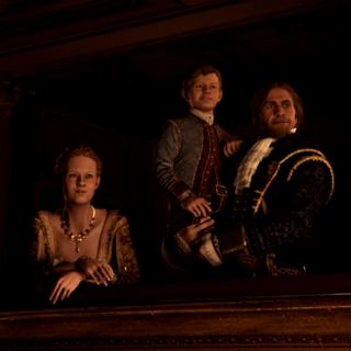 海瑟姆與父親愛德華、姐姐珍妮弗觀看歌劇