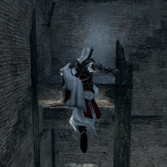 Ezio baant zich een weg door de toren.