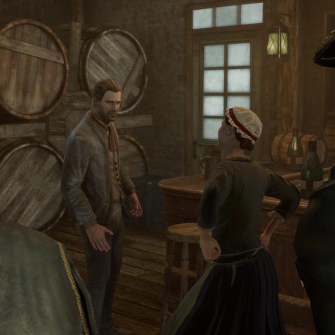 科尼利厄斯和凯瑟琳在圣殿骑士们面前争吵